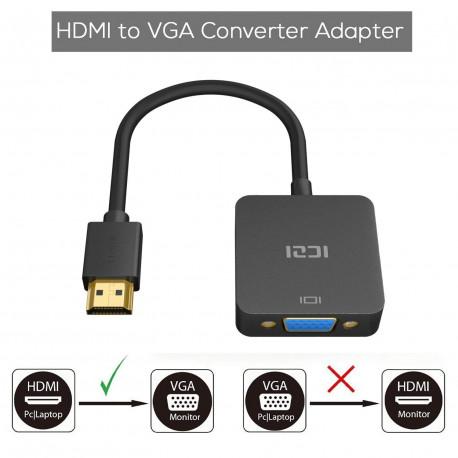 ICZI Adaptateur HDMI vers VGA 1080P Convertisseur HDMI Mâle à VGA Femelle