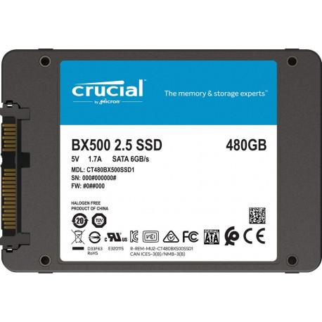 Crucial SSD Interne BX500 (480Go, 3D NAND, SATA, 2,5 pouces)