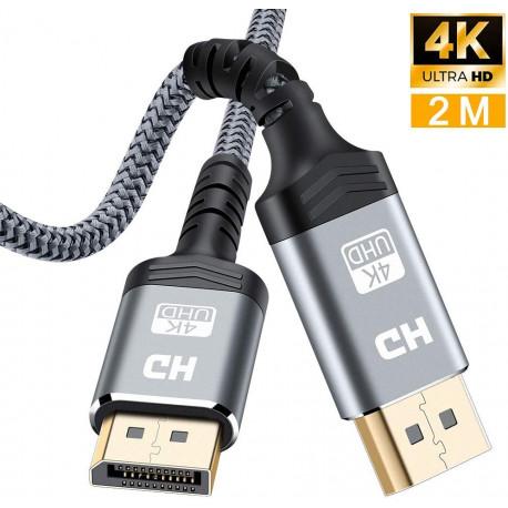 Câble DisplayPort 2M,Câble DP 4K en Nylon tressé[4K@60Hz, 2K@165Hz, 2K@144Hz]