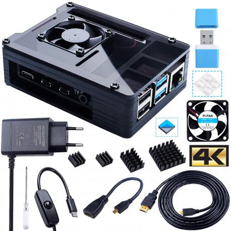 Bruphny Boîtier pour Raspberry Pi 4 avec Ventilateur 35mm