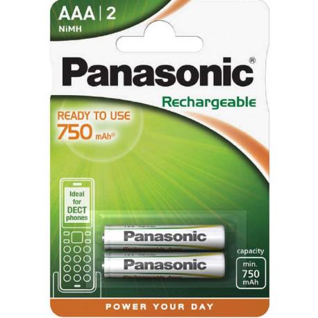 Panasonic Lot de 2 batteries rechargeables micro AAA 800 mAh 750 mAh NiMH P03 HR03