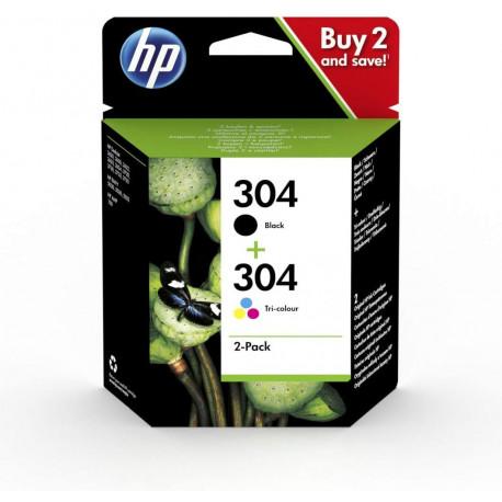 HP 304 Pack de 2 Cartouches d'Encre Noire et Trois Couleurs