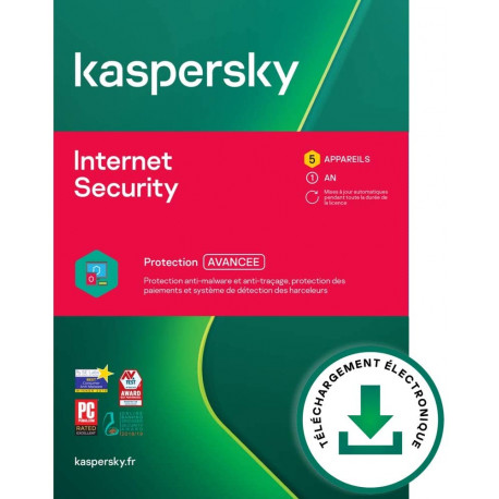 Kaspersky Internet Security 2021 | 5 Appareils | 1 An | PC / Mac / Android | Code d'activation
