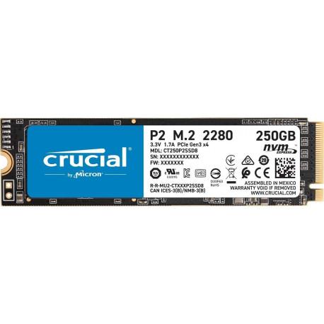 Crucial P2 CT250P2SSD8 SSD Interne 250Go, Vitesses atteignant 2400 Mo/s